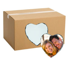 FULL CARTON - 40 x Heart Shaped (15cm x 15cm) Sublimation Photo Slates with Stands