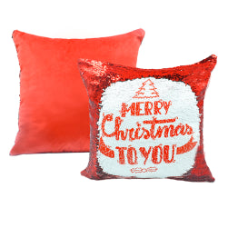 Cushion Cover - Sequins - Red - 40cm x 40cm - Square