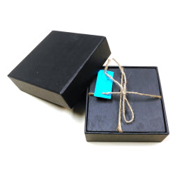 Black Slate - Engravable - Set of 4 Smooth Edge Slate Coasters in Giftbox