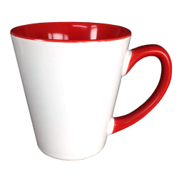 Mugs - Inner and Handle Coloured - 12oz Latte - Red