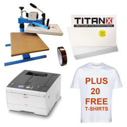 Gold T-Shirt and Garment Printing Package + 20 Free T-Shirts