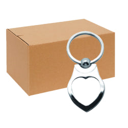 FULL CARTON - 240 x Heart Style II Blank Sublimation Metal Keyrings