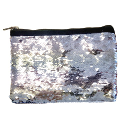 Sequins Hangbag/ Cosmetic Bag - Silver Reversible - 15cm x 20cm