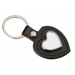 Keyring - Sublimation Metal & PU Keyring - Heart - Black