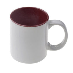Mugs - 11oz - Two Tone Coloured Mugs - Maroon