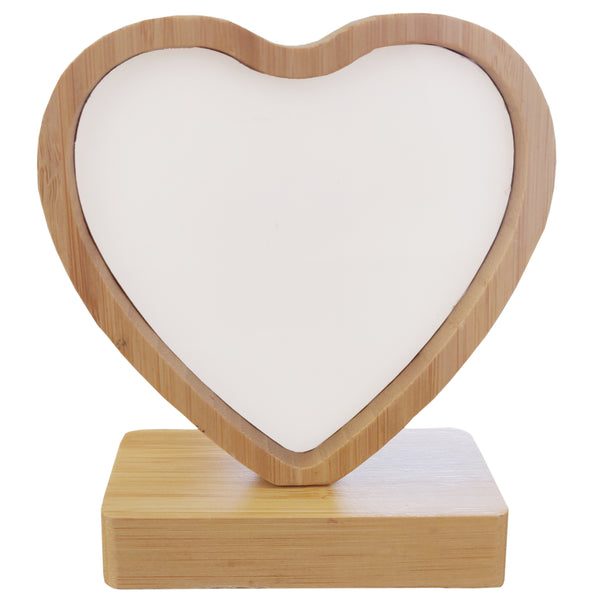 Photo Frame - Bamboo/ MDF - Revolving Magnetic Frame - Heart
