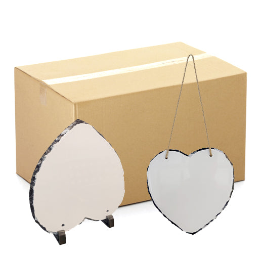 FULL CARTON - 20 x Blank 20cm x 20cm Large Heart Shaped Photo Slate with Stands