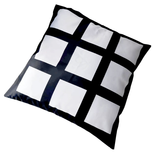 Cushion Cover - 9 Printable Panels - Black - 40cm