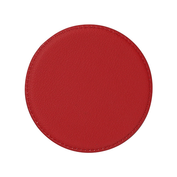 Engravables - LEATHER - Coaster - ROUND - 10cm - Red