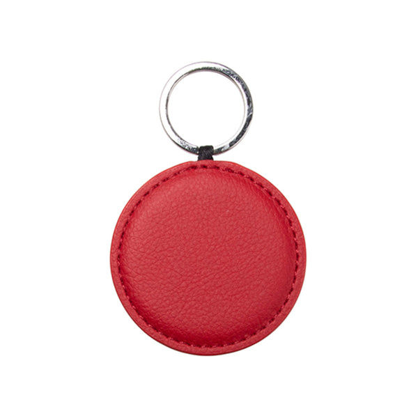 Engravables - LEATHER - Keyring - ROUND - 5cm - Red