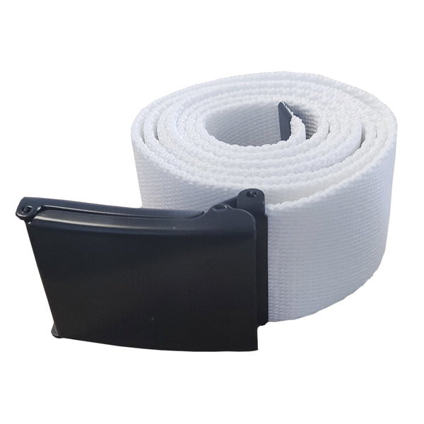Apparel - Fashion White Belt with MATT BLACK Buckle