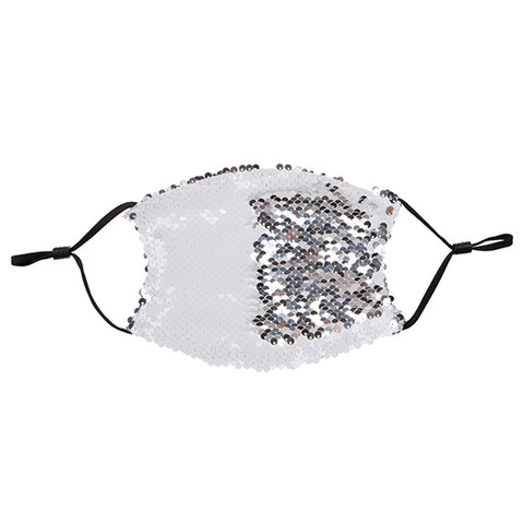Face Coverings -  Silver/ White Sequin Mask - Black Straps - ADULT Size with 2 x PM2.5 Filters