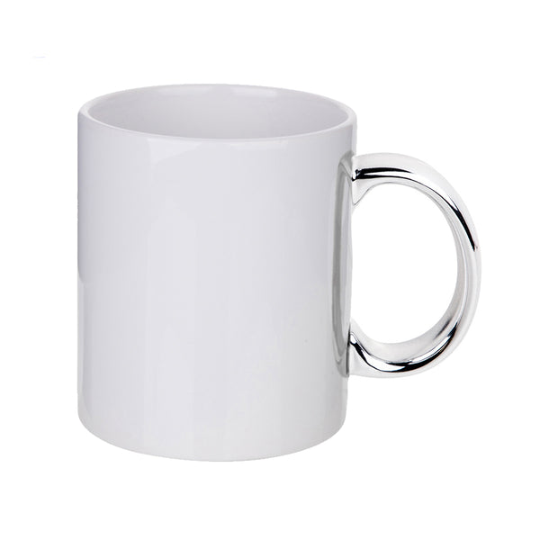 Mugs - 11oz - White Sublimation Mug with SILVER Handle