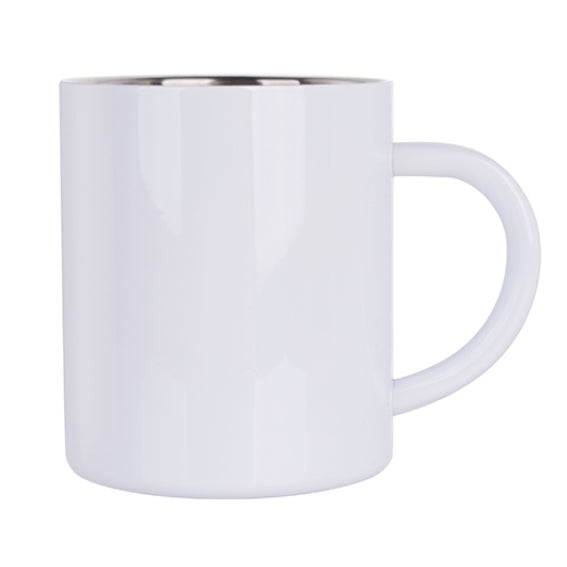 Mugs - Metal & Enamel Mugs - WHITE 300ml Steel Mug