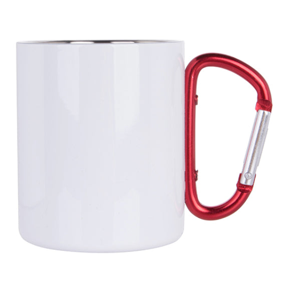 Mugs - Metal & Enamel Mugs - RED HANDLE - White Steel - 300ml