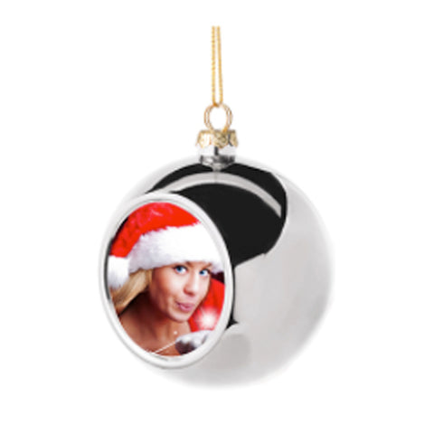 Ornaments - Christmas Bauble with Printable Insert - Mirror Silver Finish