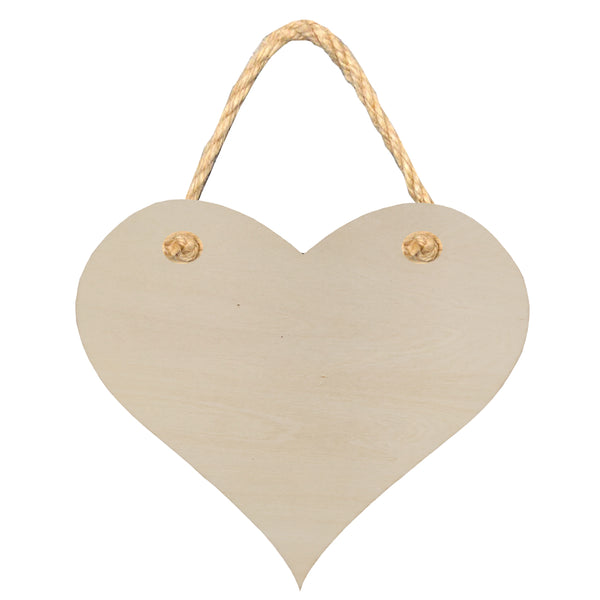 Hanging Sign - PLYWOOD - Double Sided Heart - 18cm x 15.5cm