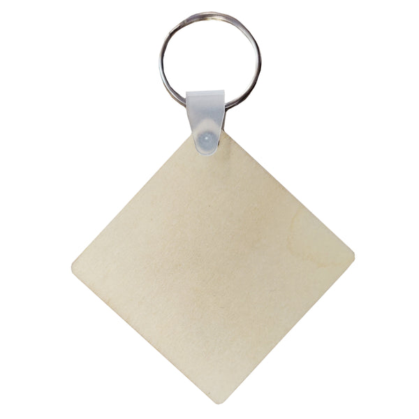 Keyring - 10 x PLYWOOD - Double Sided Keyring - Square