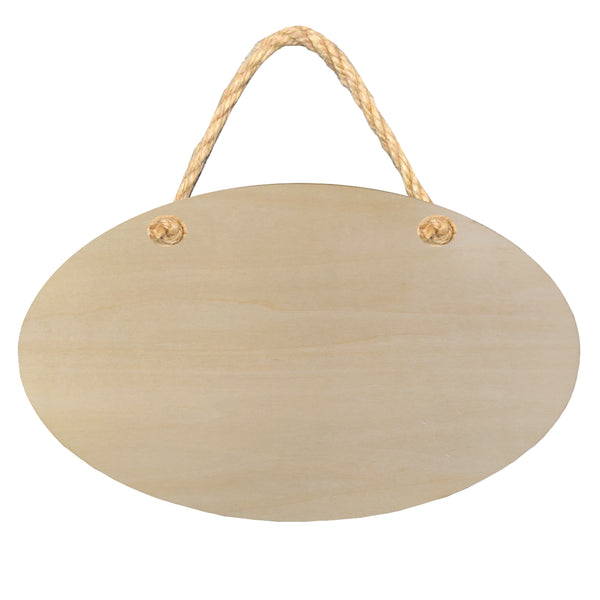 Hanging Sign - PLYWOOD - Double Sided Oval - 25.5cm x 15cm