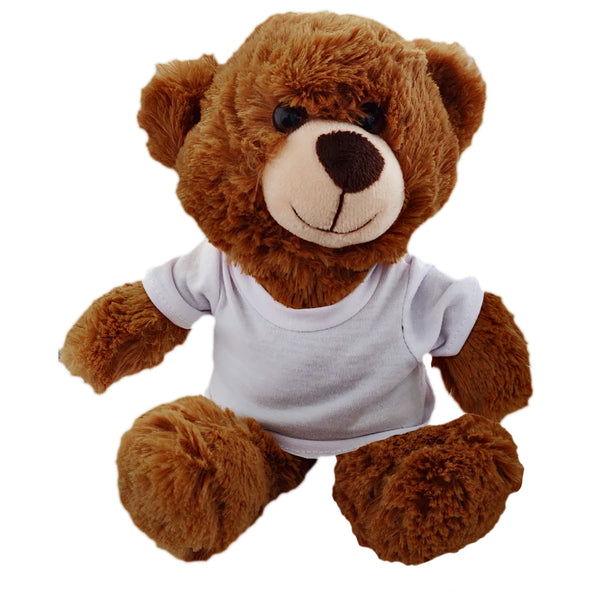 Soft Toys - Dark Brown Teddy Bear with Printable T-Shirt