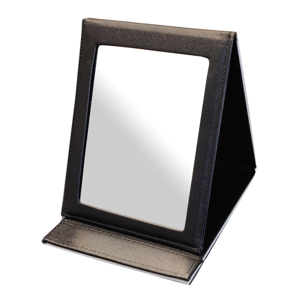 PU - Large Folding Makeup Mirror - Black