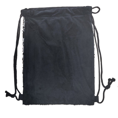 Sequin DRAWSTRING Bag - 38.5cm x 30cm - BLACK