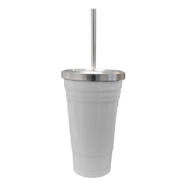 Mugs - Travel Mugs - 16oz Stainless Steel Tumbler with Straw - White