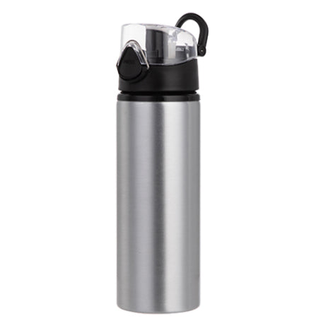 Water Bottles - BLACK - Coloured Flip Lid - 750ml - Silver