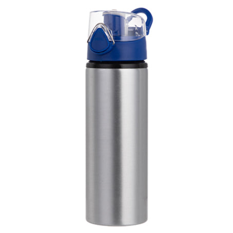 Water Bottles - BLUE - Coloured Flip Lid - 750ml - Silver