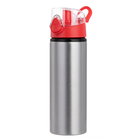 Water Bottles - RED - Coloured Flip Lid - 750ml - Silver