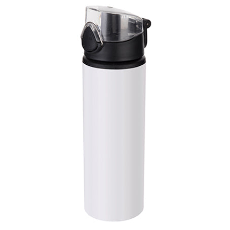 Water Bottles - BLACK - Coloured Flip Lid - 750ml - White