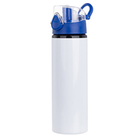 Water Bottles - BLUE - Coloured Flip Lid - 750ml - White