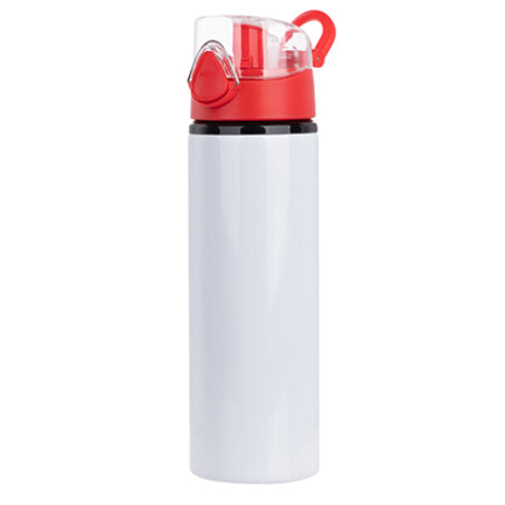 Water Bottles - RED - Coloured Flip Lid - 750ml - White