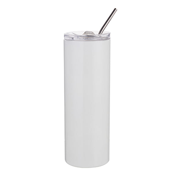 Water Bottles - Slim Stainless Steel - WHITE - 600ml Tumbler with Straw