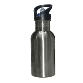 Water Bottles - Straw Top - STAINLESS STEEL - 500ml - Silver