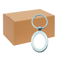 FULL CARTON - 240 x Vertical Oval Blank Sublimation Metal Keyrings