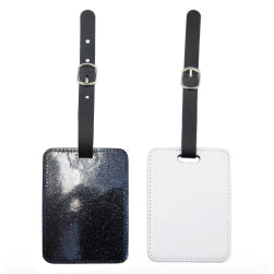 Luggage Tag - PU Glitter - Black