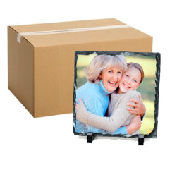 FULL CARTON - 40 x Small Blank Square (15cm x 15cm) Sublimation Photo Slates with Stands