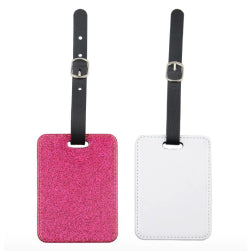 Luggage Tag - PU Glitter - Pink