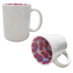 Mugs - Inner Printed Sublimation Mugs - Pink Love Hearts