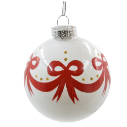 Ornaments - Ceramic - Christmas Bauble - White and Bow Design