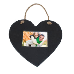 Black Slate - Engravable - Hanging Heart Picture Frame - 25cm x 20cm