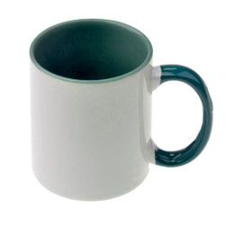 Mugs - 11oz - Inner and Handle Coloured - Dark Green