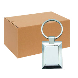 FULL CARTON - 240 x Rectangle Blank Sublimation Metal Keyrings