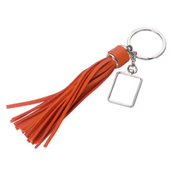 Keyring - Sublimation Metal & PU Keyring - Long Tassel - Orange