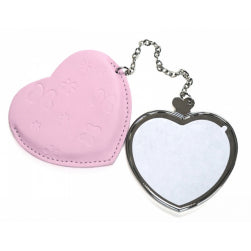 Pocket Compact Mirror - Leather/ PU - Pink - Heart Shaped