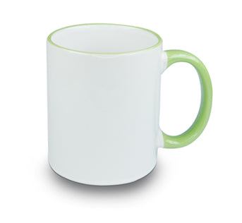 Mugs - 11oz - Rim and Handle Coloured - Light Green