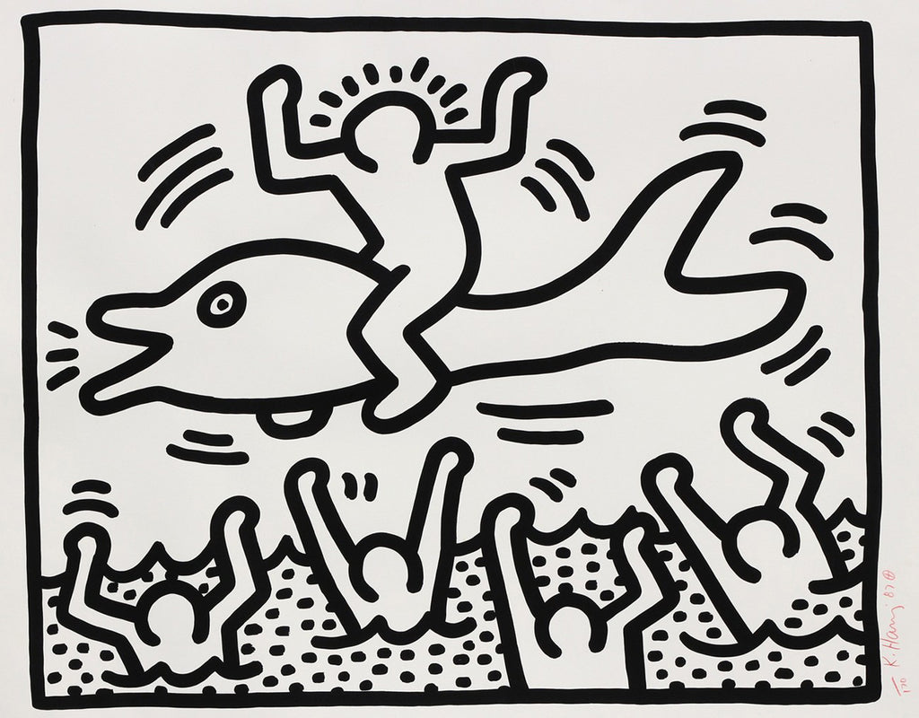 "Keith Haring ""Untitled"" Man on Dolphin"
