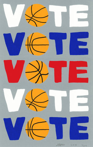 Jonas Wood Vote Signed Basketball Print