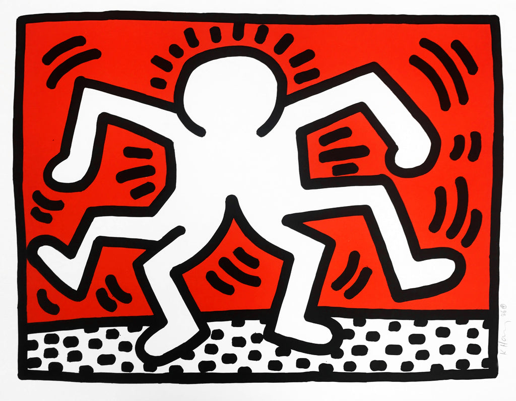 "Keith Haring ""Untitled"" 1986 Double Man Signed Lithograph"